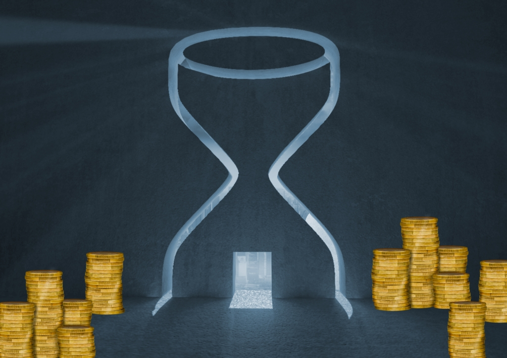Digital generated image of stack of coins and hour glass over the door